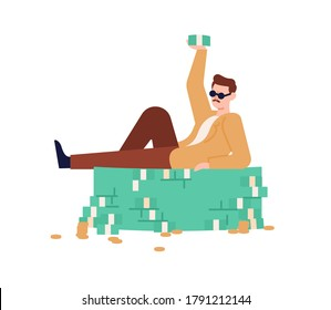 Rich guy in sunglasses lying on heap of cash and coins vector flat illustration. Male millionaire raising up wad of money demonstrate financial success isolated on white. Man relax on currency stack