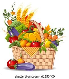 rich harvest of vegetables and fruits, vector illustration