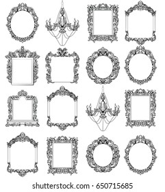 Rich Imperial Baroque Rococo frames set. French Luxury carved ornaments. Vector Victorian exquisite Style decorated frames