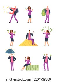 Rich luxury people spending money. Happy wealthy man, millionaire vector cartoon characters set isolated. Finance cash, gold coins financial illustration