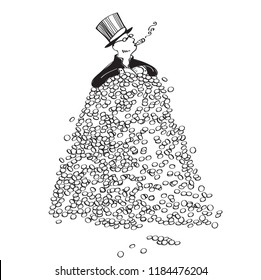 rich man in a top hat and tailcoat sits in a mountain of money and smokes a cigar. cartoon. humor.