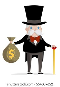 a rich old man with a cane and a bag full of money