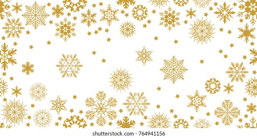 Rich panoramic Christmas background. Various snowflakes and winter ornaments. Seamless vector pattern for packaging, cards, party invitations and textile design. Golden, white.