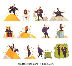Rich people flat cartoon comic elements set with wealthy woman bathing in millionaire man money vector illustration
