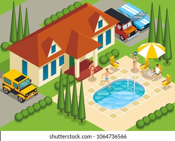 Rich people with friends during leisure on villa with swimming pool and landscape design isometric vector illustration