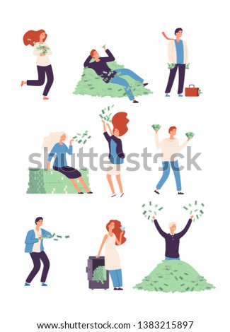Rich People Wealthy Happy Persons Money Stock Vector (Royalty Free