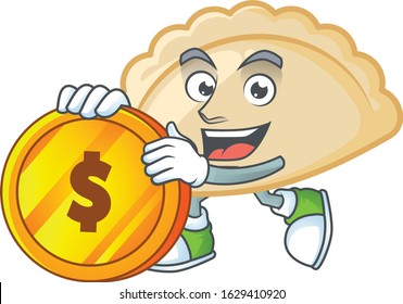 Rich pierogi mascot cartoon design style with gold coin