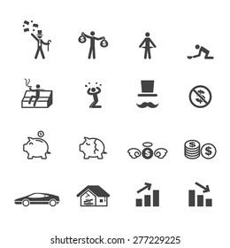 rich and poor icons, mono vector symbols