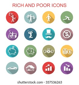 rich and poor long shadow icons, flat vector symbols