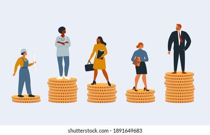 Les riches et les pauvres qui ont des salaires, des revenus ou une carrière différents n'ont pas les mêmes opportunités. Concept d'inégalité financière ou d'écart de revenus. Illustration vectorielle à plat isolée.