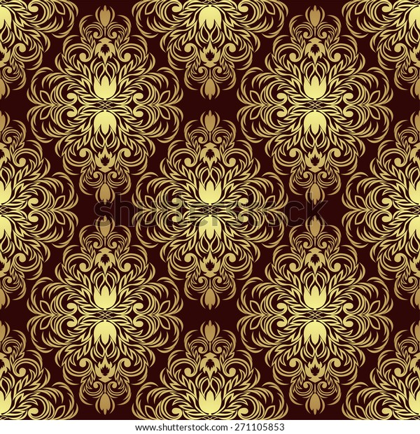 Rich Seamless Ornamental Wallpaper Gold Red Stock Vector