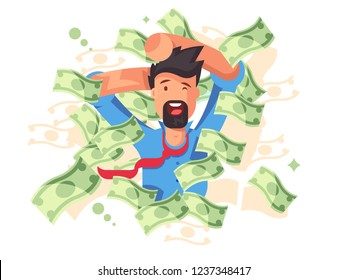 Rich smiling man bathing in money. Successful businessman or happy millionaire magnate under dollars rain flat style concept vector illustration. Wealth and success background