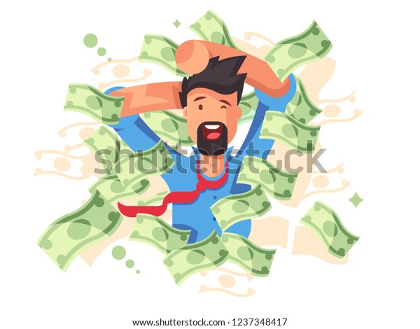 Rich Smiling Man Bathing Money Successful Stock Vector (Royalty Free