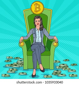 Rich Successful Business Woman Sitting on Throne with Bitcoin and Money Stacks. Crypto currency Market Concept. Vector illustration
