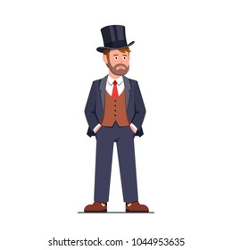 Rich and successful tycoon business man wearing three-piece formal suit. Wealthy young gentleman dandy in top hat standing with hands in trousers pockets. Flat isolated vector character illustration