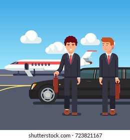 Rich and wealthy business man coming from private plane and limousine car standing on runway. Executive management using private jet airline. Flat vector illustration isolated on blue background.