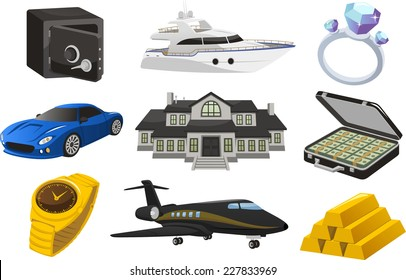 Rich Wealthy life Luxurious lifestyle, with jet, ship, mansion, diamond ring, suitcase, car, golden bars, golden watch, vector illustration cartoon.