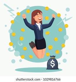 Rich woman, employee jumping with money bag, coins. Rain of cash. Salary, bonus, income, jackpot. Successful contract, business agreement. Happy character isolated on background. Vector flat design