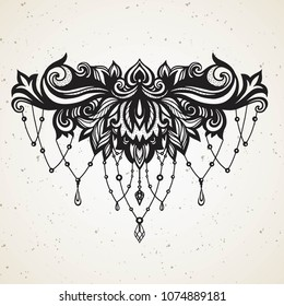 Rich women's tattoo with jewelry and barocco decorativ floral element. Abstract in Boho Indian Asian Arabic Ethnic style with Gems for tattoo on sternum black on white for decoration T shirt dress.