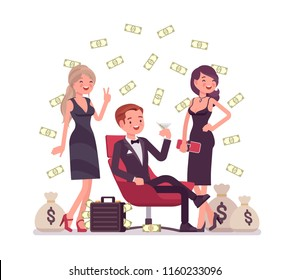Rich young playboy. Wealthy young handsome man spends time enjoying himself, money and sexual relationships with attractive women. Vector flat style cartoon illustration isolated on white background