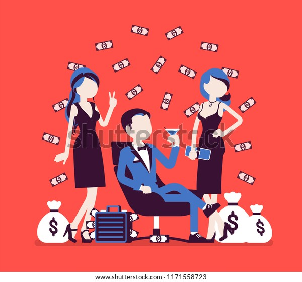 Rich young playboy. Wealthy handsome man spends time enjoying himself, money and sexual relationships with attractive women. Vector illustration, faceless characters