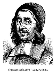 Richard Baxter, 1615-1691, he was an English puritan church leader, poet,  theologian, and writer, vintage line drawing or engraving illustration