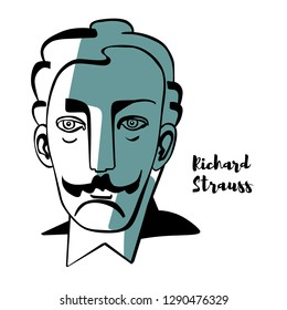 Richard Strauss engraved vector portrait with ink contours. German composer of the late Romantic and early modern eras. He is known for his operas.