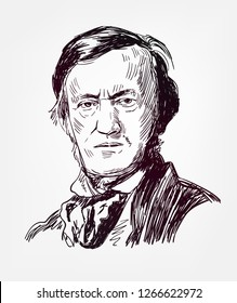 Richard Wagner famous vector sketch portrait