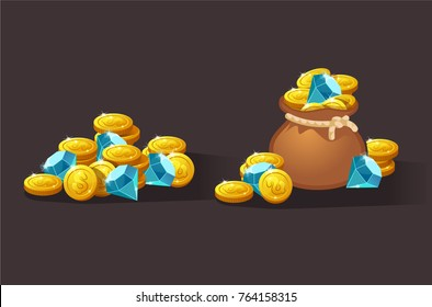 Riches, wealth set for game interface. Vector illustration. treasure of gold coins on transparent background: closed, empty, chests with golden coin.Icons cartoon coins for web. Stack, bag.