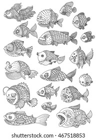 richly decorated fish - vector hand drawing illustration big set