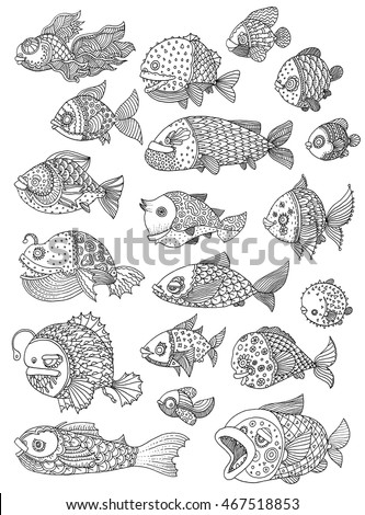 richly decorated fish - vector hand drawing illustration big set