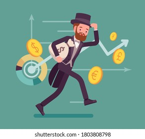 Richman, wealthy person with great financial fortune. Elegant gentleman banker in tuxedo, successful dollar millionaire, happy capital owner around golden coins. Vector flat style cartoon illustration
