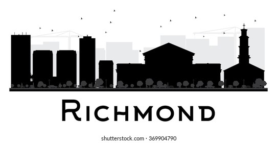 Richmond City skyline black and white silhouette. Vector illustration. Simple flat concept for tourism presentation, banner, placard or web. Business travel concept. Cityscape with landmarks