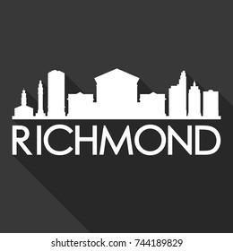Richmond Flat Icon Skyline Silhouette Design City Vector Art Famous Buildings