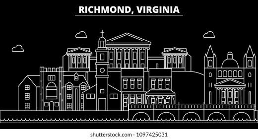 Richmond silhouette skyline. USA - Richmond vector city, american linear architecture, buildings. Richmond travel illustration, outline landmarks. USA flat icon, american line banner