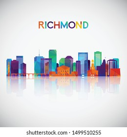 Richmond skyline silhouette in colorful geometric style. Symbol for your design. Vector illustration.