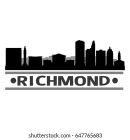 Richmond Skyline Silhouette Design City Vector Art