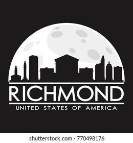 Richmond USA Full Moon Night Skyline Silhouette Design City Vector Art