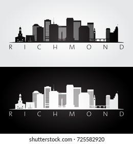 Richmond usa skyline and landmarks silhouette, black and white design, vector illustration.