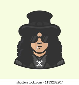Richmond, VA - July, 2018 : Illustration of Slash, lead guitarist of Guns-n-Roses and Slash's Snake Pit in iconic sunglasses and top hat with skull and crossbones necklace.