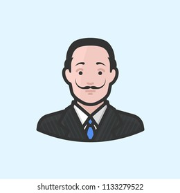 Richmond, VA / USA - July, 2018 : Illustration of Salvador Dali with blue tie.