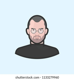 Richmond, VA / USA - July, 2018 : Illustration of Steve Jobs in round eyeglasses and black shirt.
