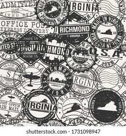Richmond, VA, USA Set of Stamps. Travel Passport Stamps Pattern. Made In Product. Design Seals in Old Style Insignia Seamless. Icon Clip Art Vector Collection.
