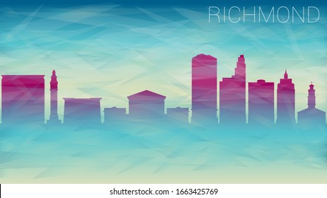 Richmond, VA, USA Skyline City Silhouette Vector. Broken Glass Abstract  Textured. Banner Background Colorful Shape Composition.