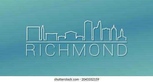 Richmond, VA, USA Skyline Linear Design. Flat City Illustration Minimal Clip Art. Background Gradient Travel Vector Icon.