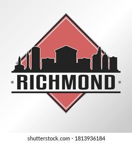 Richmond, VA, USA Skyline Logo. Adventure Landscape Design Vector Illustration.