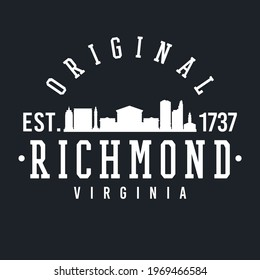Richmond, VA, USA Skyline Original. A Logotype Sports College and University Style. Illustration Design Vector City.