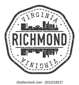 Richmond, VA, USA Stamp Skyline Postmark. Silhouette Postal Passport. City Round Vector Icon. Vintage Postage Design.