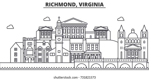 Richmond, Virginia architecture line skyline illustration. Linear vector cityscape with famous landmarks, city sights, design icons. Landscape wtih editable strokes