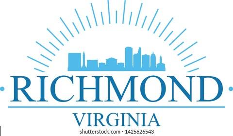 Richmond Virginia. Banner Design. City Skyline. Silhouette Vector. Famous Monuments.